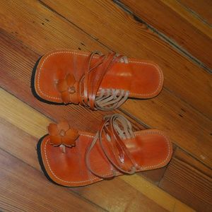 Shoes - Leather Orange Strappy Sandals Size 7